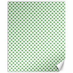 Green Heart Shaped Clover On White St  Patrick s Day Canvas 11  X 14