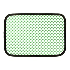 Green Heart Shaped Clover On White St  Patrick s Day Netbook Case (medium)