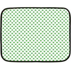Green Heart Shaped Clover On White St  Patrick s Day Fleece Blanket (mini)