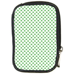 Green Heart Shaped Clover On White St  Patrick s Day Compact Camera Cases