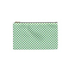 Green Heart Shaped Clover On White St  Patrick s Day Cosmetic Bag (small)