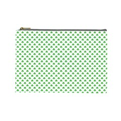 Green Heart Shaped Clover On White St  Patrick s Day Cosmetic Bag (large)