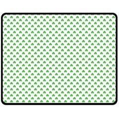 Green Heart Shaped Clover On White St  Patrick s Day Fleece Blanket (medium)