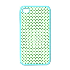 Green Heart Shaped Clover On White St  Patrick s Day Apple Iphone 4 Case (color)