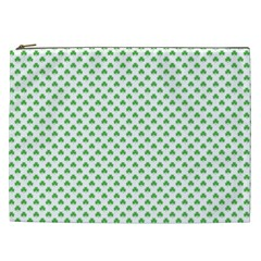 Green Heart Shaped Clover On White St  Patrick s Day Cosmetic Bag (xxl)