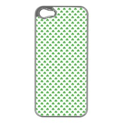 Green Heart Shaped Clover On White St  Patrick s Day Apple Iphone 5 Case (silver)