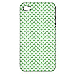 Green Heart Shaped Clover On White St  Patrick s Day Apple Iphone 4/4s Hardshell Case (pc+silicone)