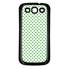 Green Heart Shaped Clover On White St  Patrick s Day Samsung Galaxy S3 Back Case (black)