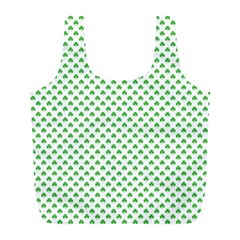 Green Heart Shaped Clover On White St  Patrick s Day Full Print Recycle Bags (l)