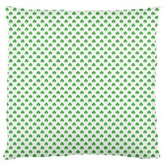 Green Heart Shaped Clover On White St  Patrick s Day Standard Flano Cushion Case (one Side)