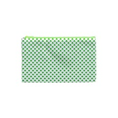 Green Heart Shaped Clover On White St  Patrick s Day Cosmetic Bag (xs)