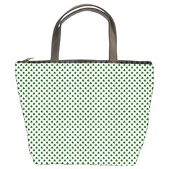 Shamrock 2 Tone Green On White St Patrick?¯s Day Clover Bucket Bags