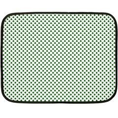 Shamrock 2 Tone Green On White St Patrick?¯s Day Clover Fleece Blanket (mini)