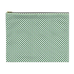 Shamrock 2 Tone Green On White St Patrick?¯s Day Clover Cosmetic Bag (xl)