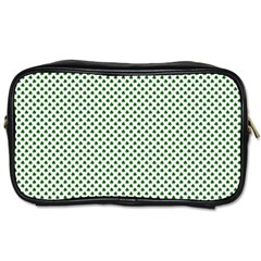 Shamrock 2 Tone Green On White St Patrick?¯s Day Clover Toiletries Bags 2 Side