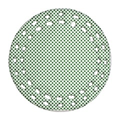 Shamrock 2 Tone Green On White St Patrick?¯s Day Clover Round Filigree Ornament (two Sides)