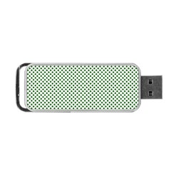 Shamrock 2 Tone Green On White St Patrick?¯s Day Clover Portable Usb Flash (one Side)