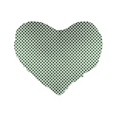 Shamrock 2 Tone Green On White St Patrick?¯s Day Clover Standard 16  Premium Heart Shape Cushions