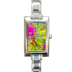 Colored Plants Photo Rectangle Italian Charm Watch