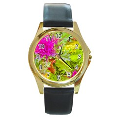 Colored Plants Photo Round Gold Metal Watch