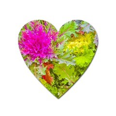 Colored Plants Photo Heart Magnet