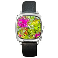 Colored Plants Photo Square Metal Watch
