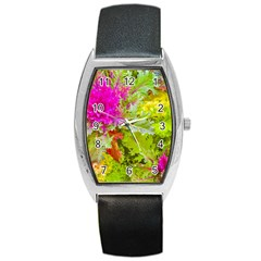 Colored Plants Photo Barrel Style Metal Watch