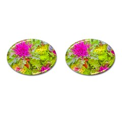 Colored Plants Photo Cufflinks (oval)
