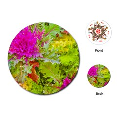 Colored Plants Photo Playing Cards (round)