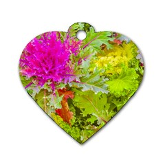 Colored Plants Photo Dog Tag Heart (one Side)
