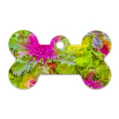 Colored Plants Photo Dog Tag Bone (two Sides)