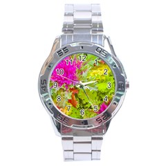 Colored Plants Photo Stainless Steel Analogue Watch