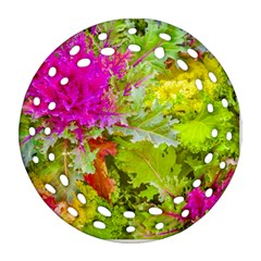 Colored Plants Photo Round Filigree Ornament (two Sides)