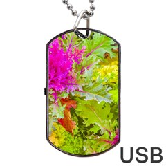 Colored Plants Photo Dog Tag Usb Flash (one Side)