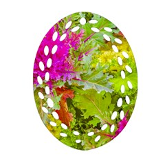 Colored Plants Photo Ornament (oval Filigree)