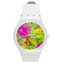 Colored Plants Photo Round Plastic Sport Watch (m)