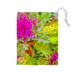 Colored Plants Photo Drawstring Pouches (large)