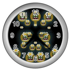 Bats In Caves In Spring Time Wall Clocks (silver)