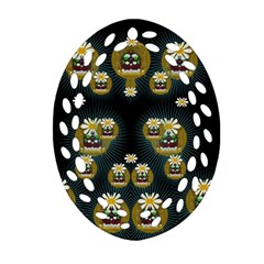 Bats In Caves In Spring Time Oval Filigree Ornament (two Sides)