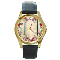 Roses 1944106 960 720 Round Gold Metal Watch