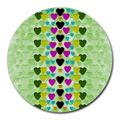 Summer Time In Lovely Hearts Round Mousepads