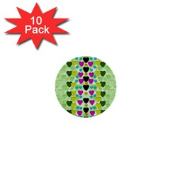Summer Time In Lovely Hearts 1  Mini Buttons (10 Pack)