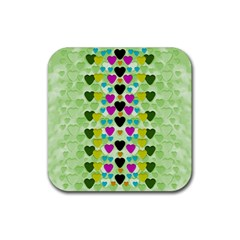 Summer Time In Lovely Hearts Rubber Square Coaster (4 Pack)