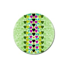 Summer Time In Lovely Hearts Magnet 3  (round)