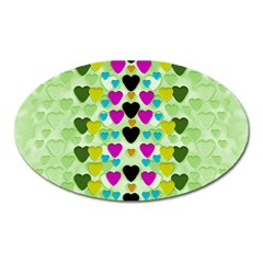 Summer Time In Lovely Hearts Oval Magnet