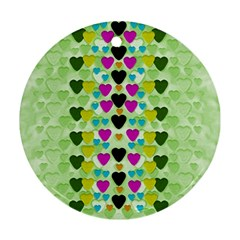 Summer Time In Lovely Hearts Round Ornament (two Sides)