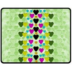 Summer Time In Lovely Hearts Fleece Blanket (medium)