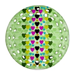 Summer Time In Lovely Hearts Ornament (round Filigree)