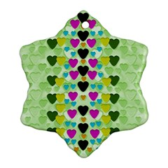 Summer Time In Lovely Hearts Snowflake Ornament (two Sides)