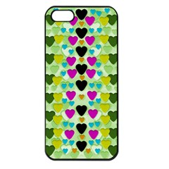 Summer Time In Lovely Hearts Apple Iphone 5 Seamless Case (black)